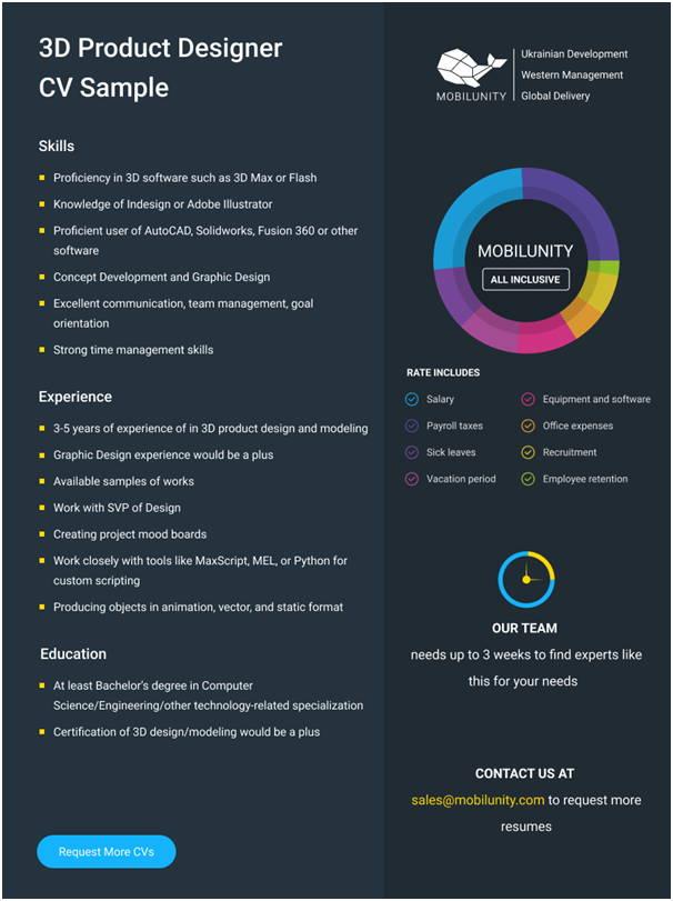3d Product Designer CV Sample
